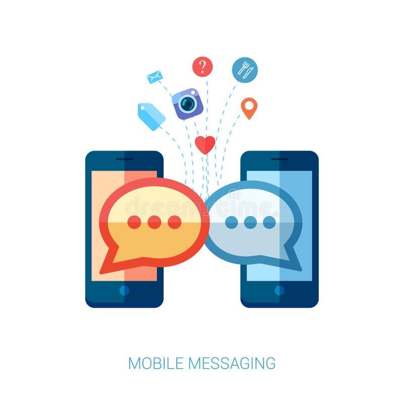 Mobiel overseinen, im en sociaal praatje of sms vlak royalty-vrije illustratie