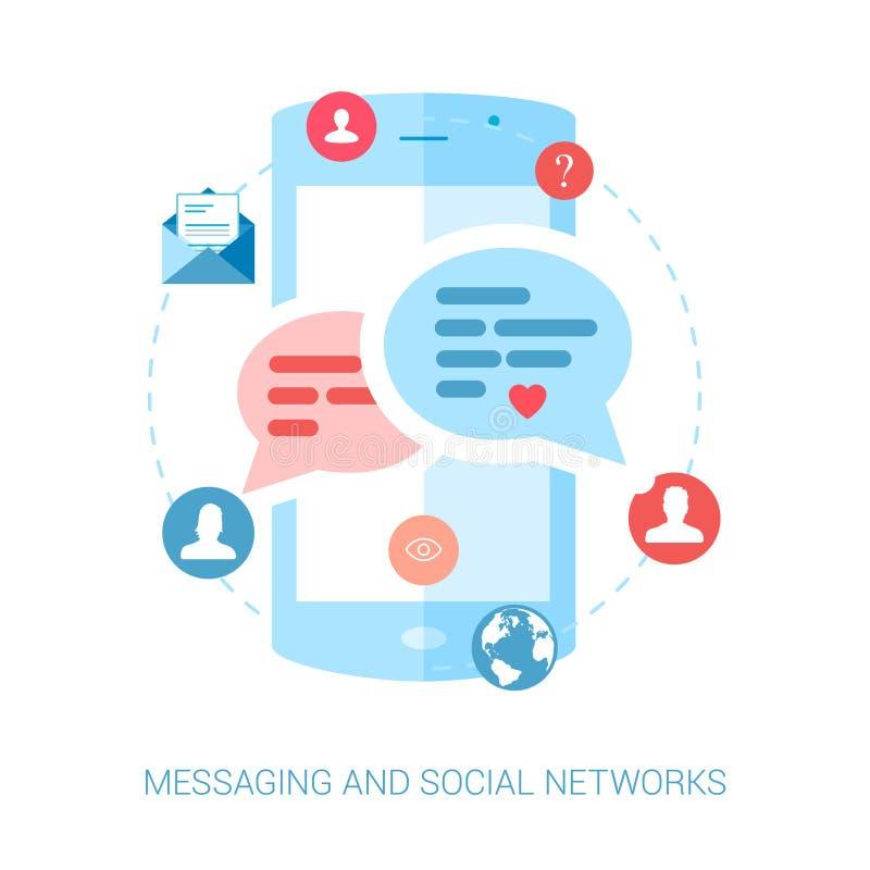Mobiel overseinen, im en sociaal praatje of sms vlak vector illustratie