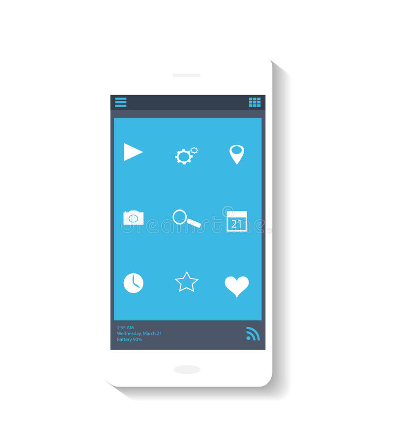 Mobiel pictogram blauw thema royalty-vrije stock foto