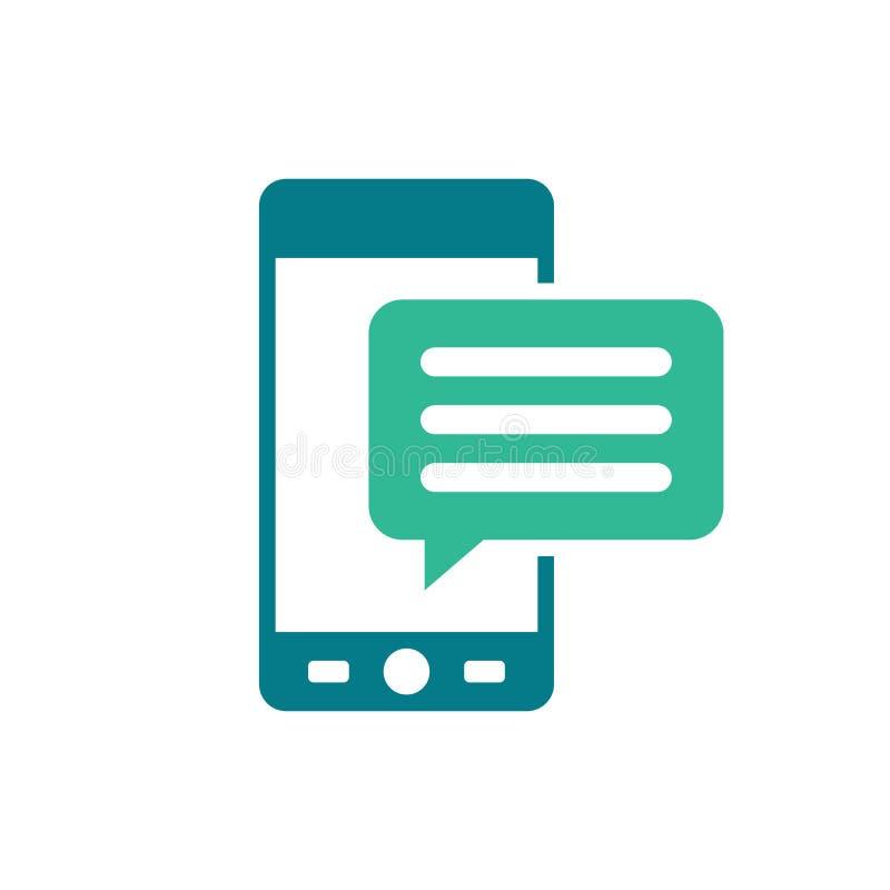 Mobiel pictogram met tekstbericht - toespraakbel - sms en communicatie pictogram - vlakke vectordieillustratie op wit wordt geïso royalty-vrije illustratie