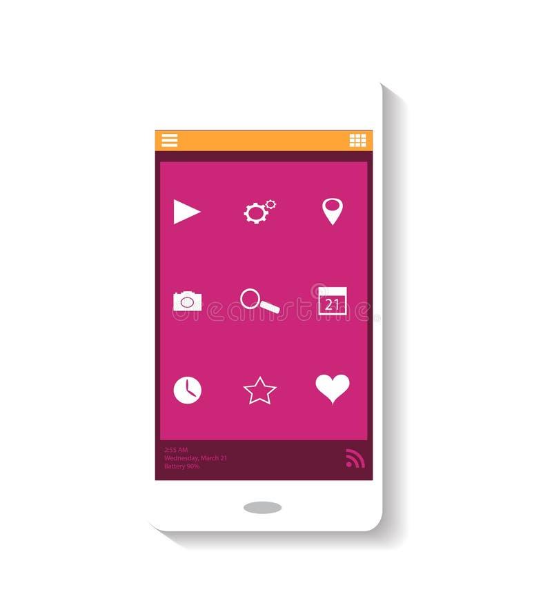 Mobiel pictogram roze thema royalty-vrije stock afbeelding
