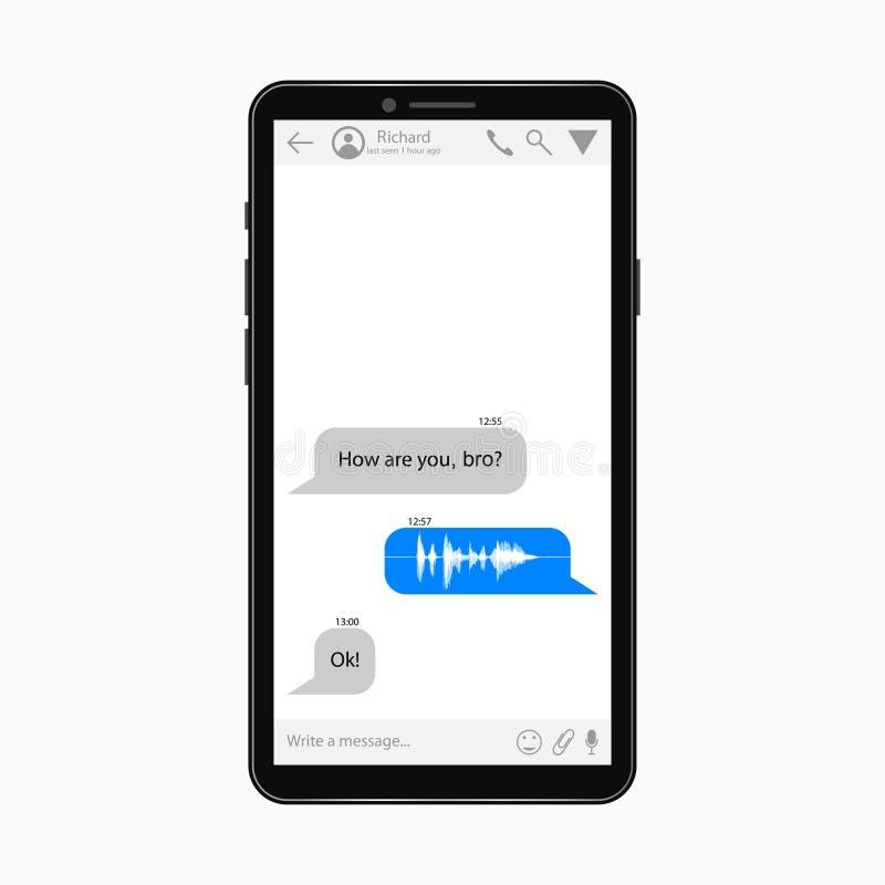 Mobiel Praatjemalplaatje Boodschappersapp ontwerp van het smartphonescherm Vector vector illustratie