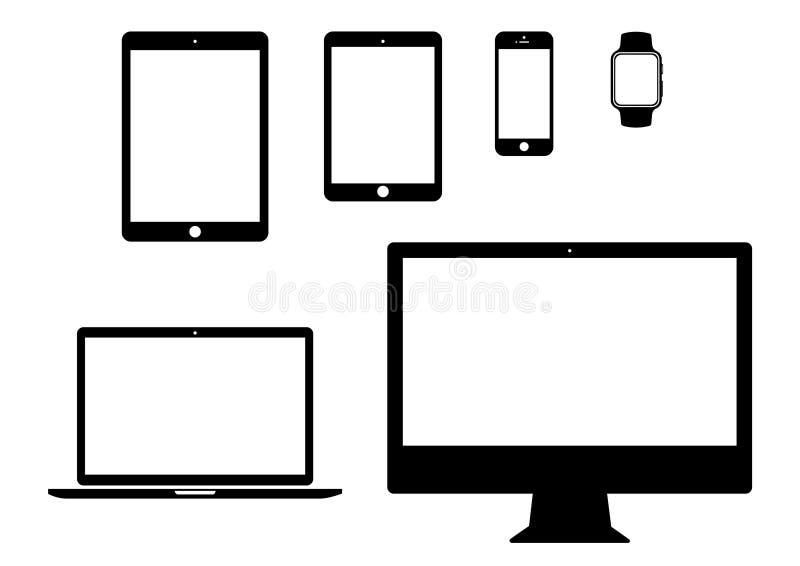Mobiel, tablet, laptop, het pictogramreeks van het computergadget royalty-vrije illustratie
