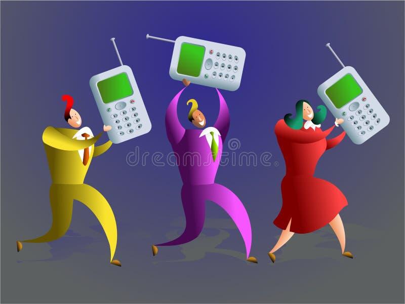 Mobiel team vector illustratie