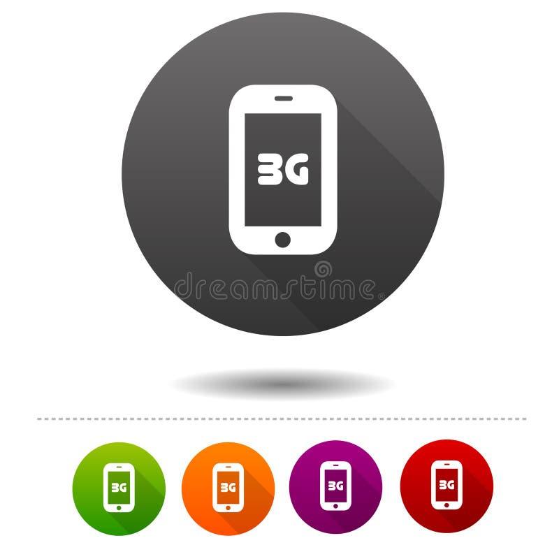 Mobiel telecommunicatiepictogram 3G symboolteken Webknoop royalty-vrije illustratie
