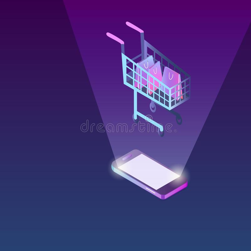 Mobiel Telefoon en Boodschappenwagentje Concept Internet die, het mobiele winkelen winkelen vector illustratie