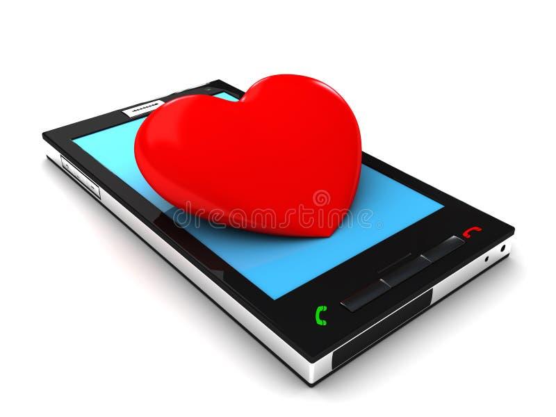 Mobiel telefoon en hart royalty-vrije illustratie