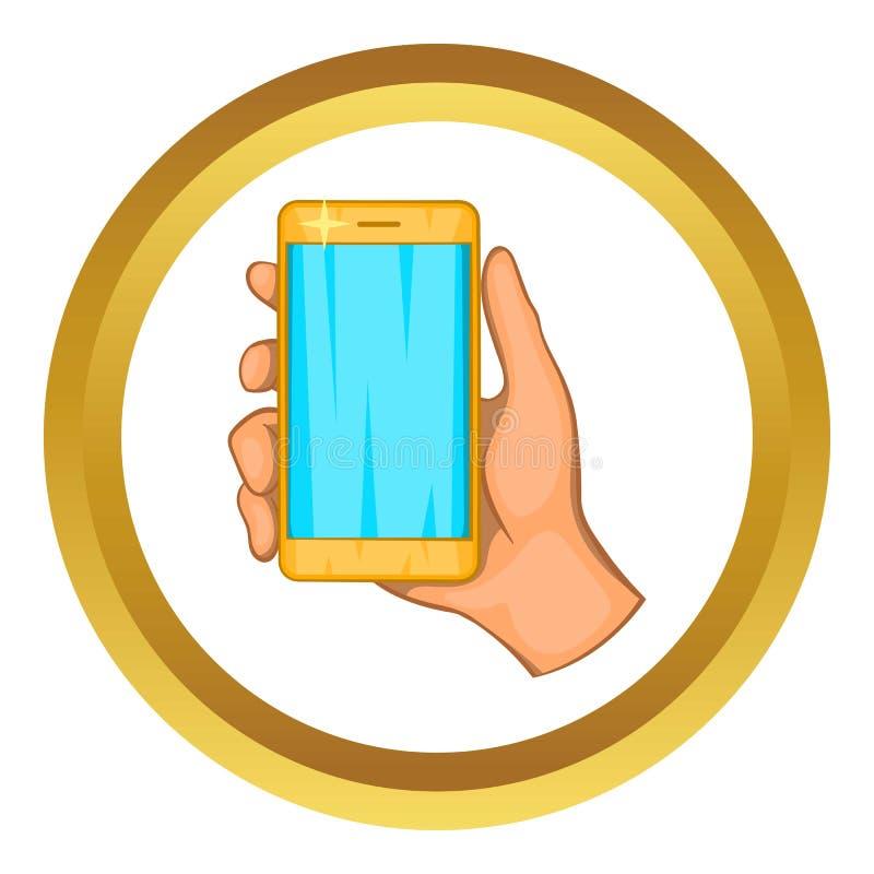 Mobiel telefoon in hand pictogram royalty-vrije illustratie