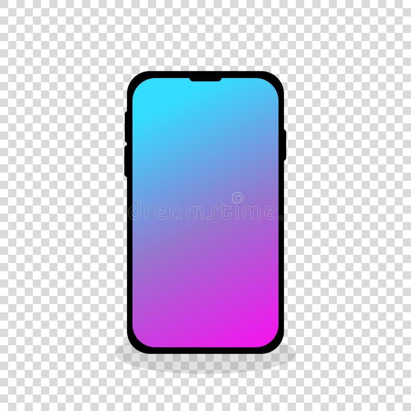 mobiel telefoon nieuw touch screen lege achtergrond stock illustratie