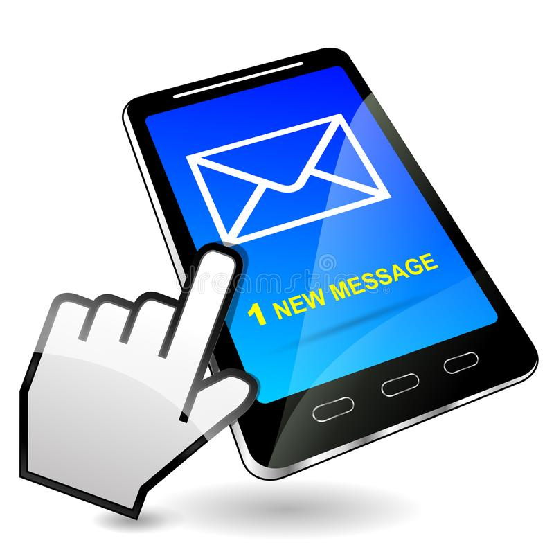 Mobiel telefoon ontvangen bericht royalty-vrije illustratie