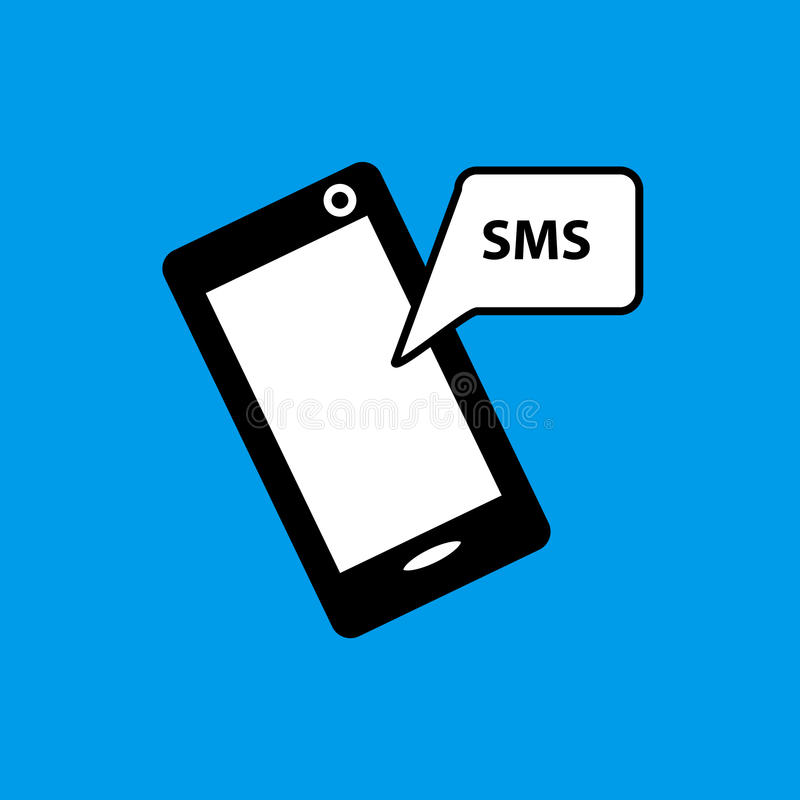 Mobiel telefoon sms vlak pictogram stock foto's