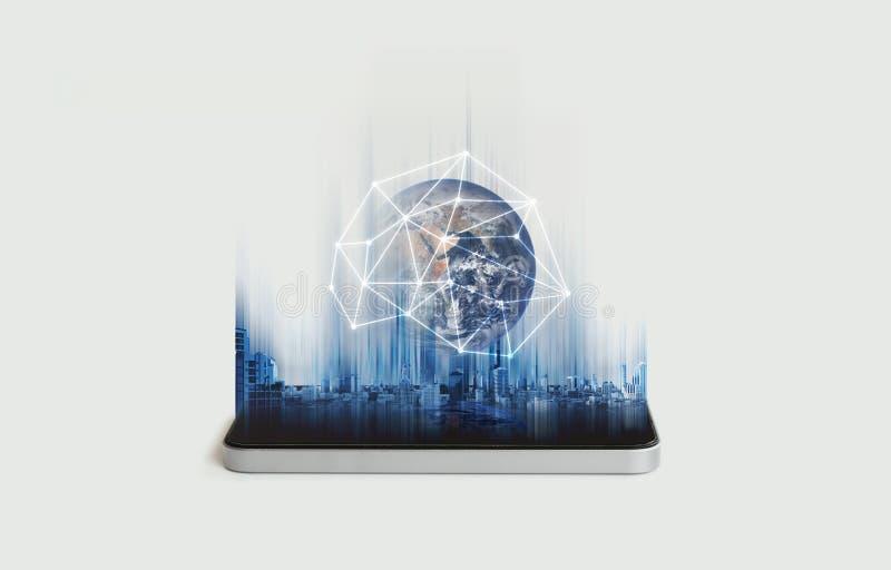 Mobiel telefoonnetwerk, mededeling en globale voorzien van een netwerktechnologie Het element van dit beeld wordt geleverd door N stock fotografie
