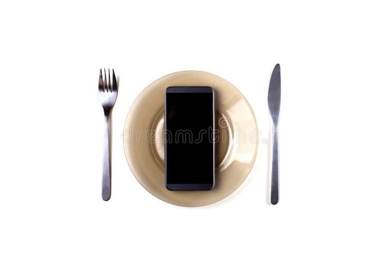 Mobiel telefoonvork en mes stock foto's