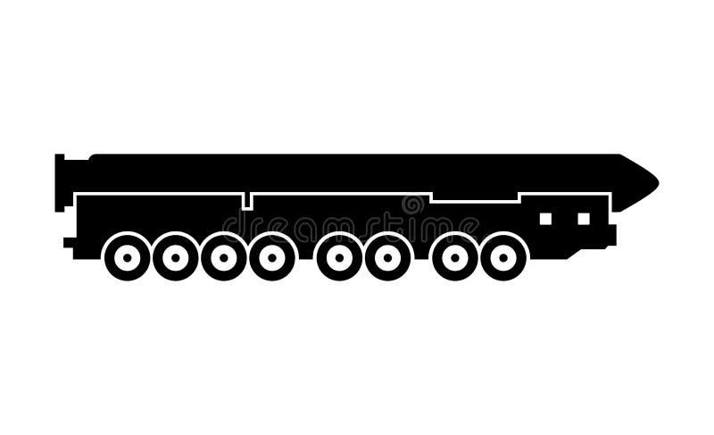 Mobiel thermonuclair bewapend intercontinentaal ballistisch projectiel vector illustratie