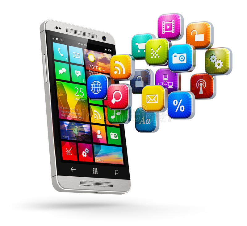 Mobiel toepassingen en Internet-concept stock illustratie