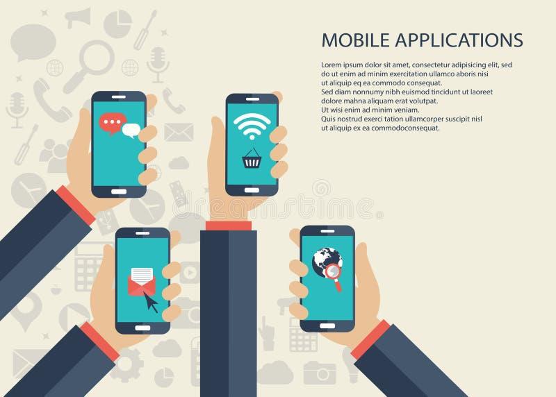 Mobiel toepassingenconcept Handen met telefoons Vlakke vectorillustratie