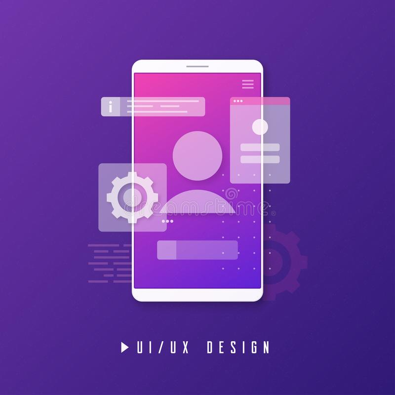 Mobiel ui ux ontwerp, app ontwikkelingsconcept vector illustratie