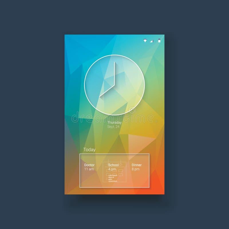 Mobiel uimalplaatje met klok en kalender  stock illustratie