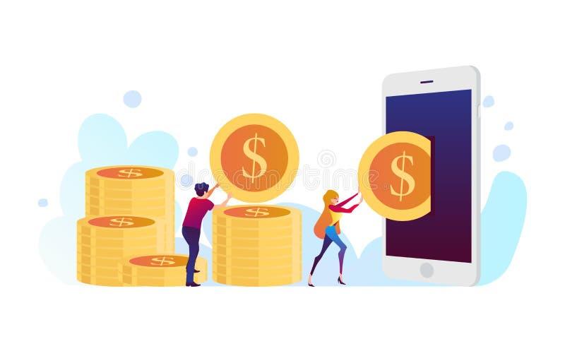 Mobiel van het het conceptenbankwezen van de geldoverdracht de betalings vectorbeeld vector illustratie