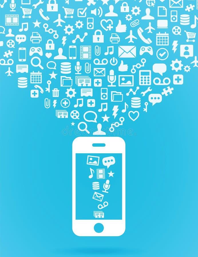 mobiel wolk gegevensverwerkingsconcept stock illustratie