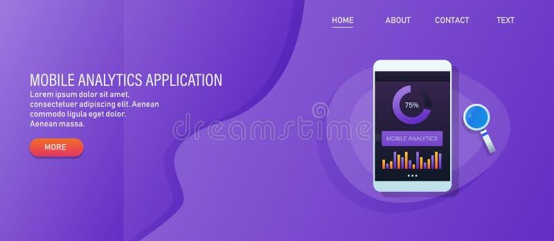 Mobiele analyticstoepassing, mobiele gegevensanalyse app, mobiel ui en ux concept, Webbanner stock illustratie