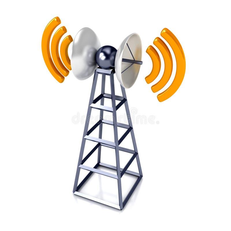Mobiele antena over wit stock illustratie