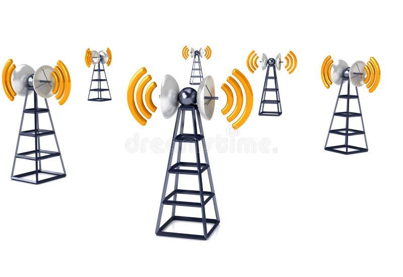 Mobiele antena over wit royalty-vrije illustratie