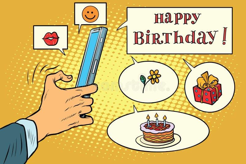 Mobiele app groeten gelukkige verjaardag royalty-vrije illustratie