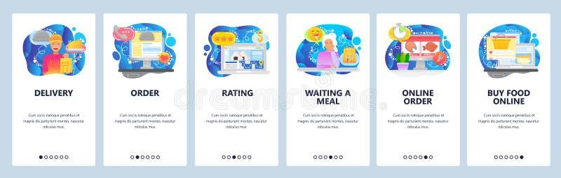 Mobiele app-instapschermen Bestelmaaltijd online, levering van voedsel, bezorger Het vectorbannermalplaatje van het menu voor vector illustratie