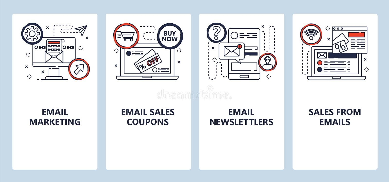 Mobiele app-instapschermen E-mailmarketing, verkoop en nieuwsbrieven Het vectorbannermalplaatje van het menu voor website en vector illustratie