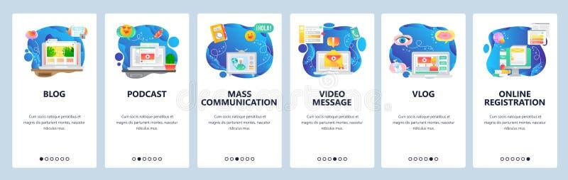 Mobiele app-instapschermen Online blog en vlog, videostreaming, podcast en tv-nieuws Menu-vectorbannersjabloon vector illustratie