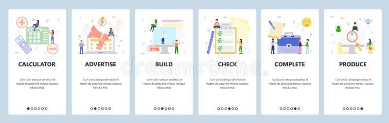 Mobiele app-instapschermen Zakelijke pictogrammen, promotie, checklist, deal Het vectorbannermalplaatje van het menu voor website royalty-vrije illustratie