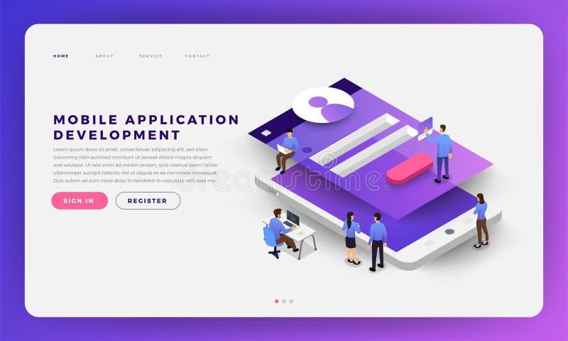 Mobiele app ontwikkeling stock illustratie