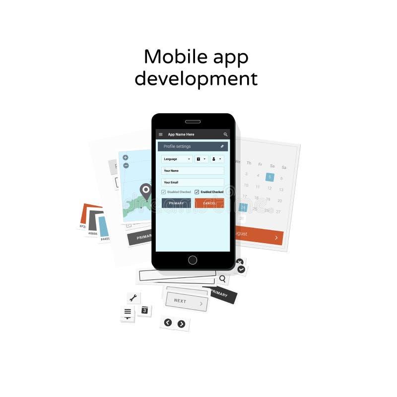 Mobiele app ontwikkeling royalty-vrije illustratie