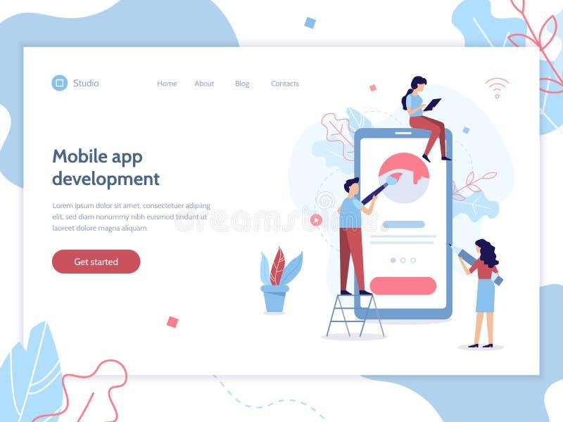 Mobiele app ontwikkelingsbanner royalty-vrije illustratie