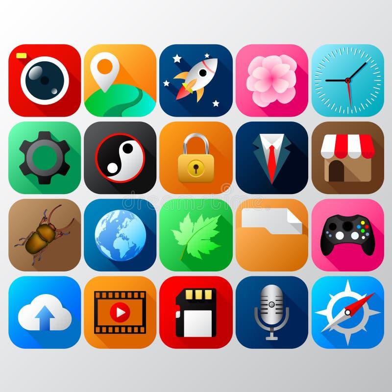 Mobiele app pictogramreeks vector illustratie