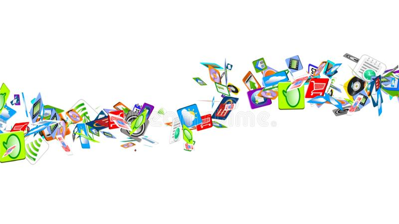 Mobiele App van vele mobiele toepassingen die op de golven slingeren royalty-vrije illustratie