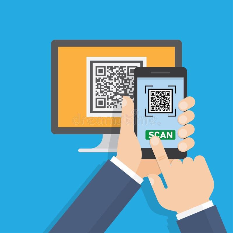Mobiele app voor aftasten QR-Code vector illustratie