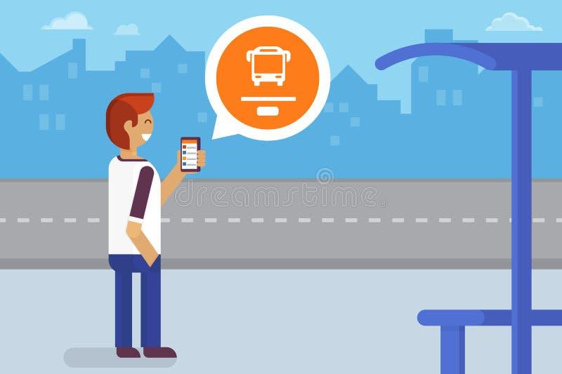Mobiele app voor bus vector illustratie
