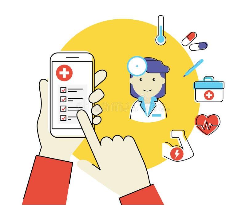 Mobiele app voor gezondheid stock illustratie
