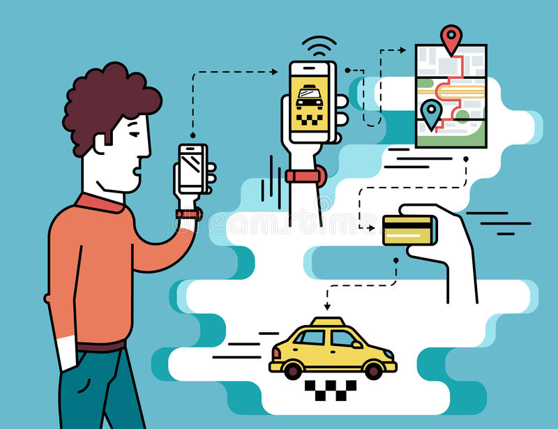 Mobiele app voor het boeken van taxi royalty-vrije illustratie