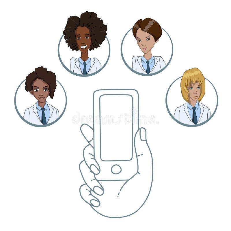 Mobiele app voor samenwerking tussen medische arbeiders vector illustratie
