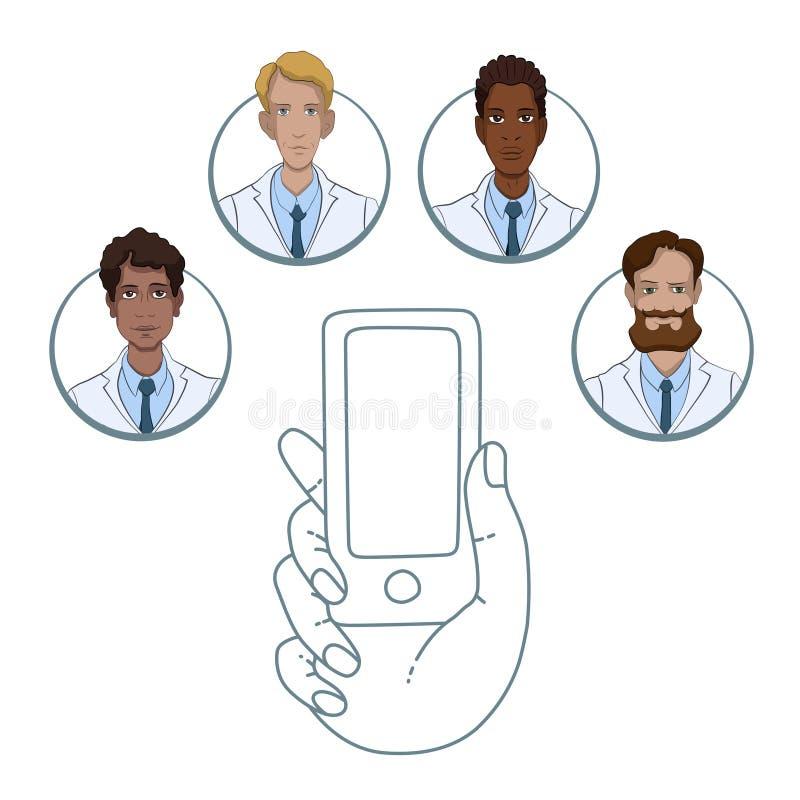 Mobiele app voor samenwerking tussen medische arbeiders stock illustratie