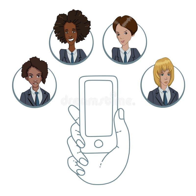 Mobiele app voor samenwerking tussen verschillende arbeiders stock illustratie