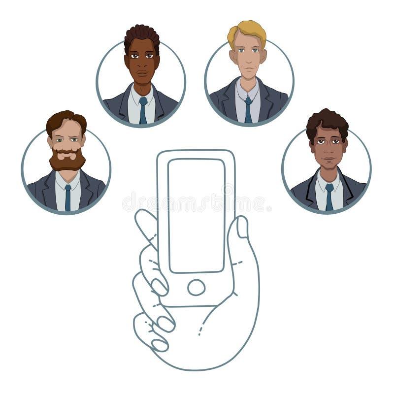 Mobiele app voor samenwerking tussen verschillende arbeiders vector illustratie