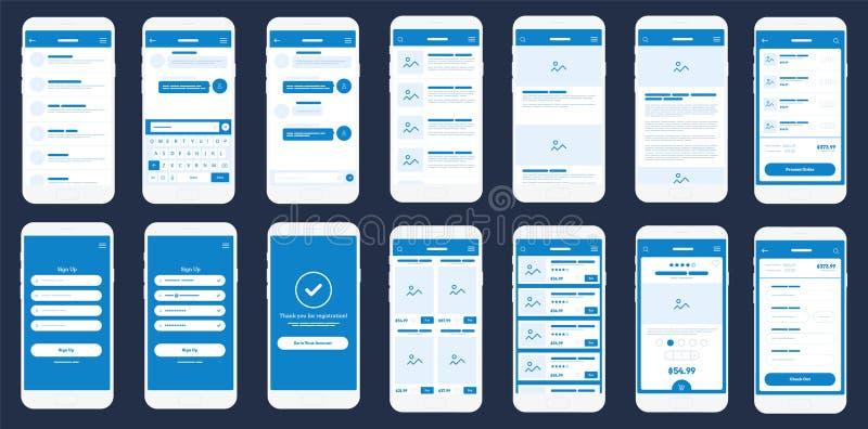 Mobiele App Wireframe Ui Uitrusting Gedetailleerd wireframe voor snelle prototyping royalty-vrije illustratie
