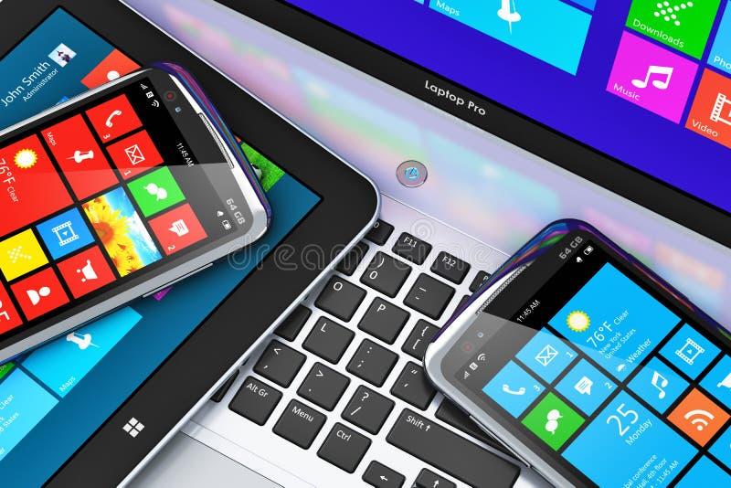 Mobiele apparaten met touchscreen interface stock illustratie