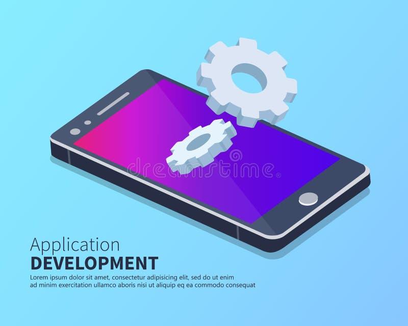 Mobiele applicatie en mobiele applicatie ontwikkeling isometrisch concept Vaste vector stock illustratie