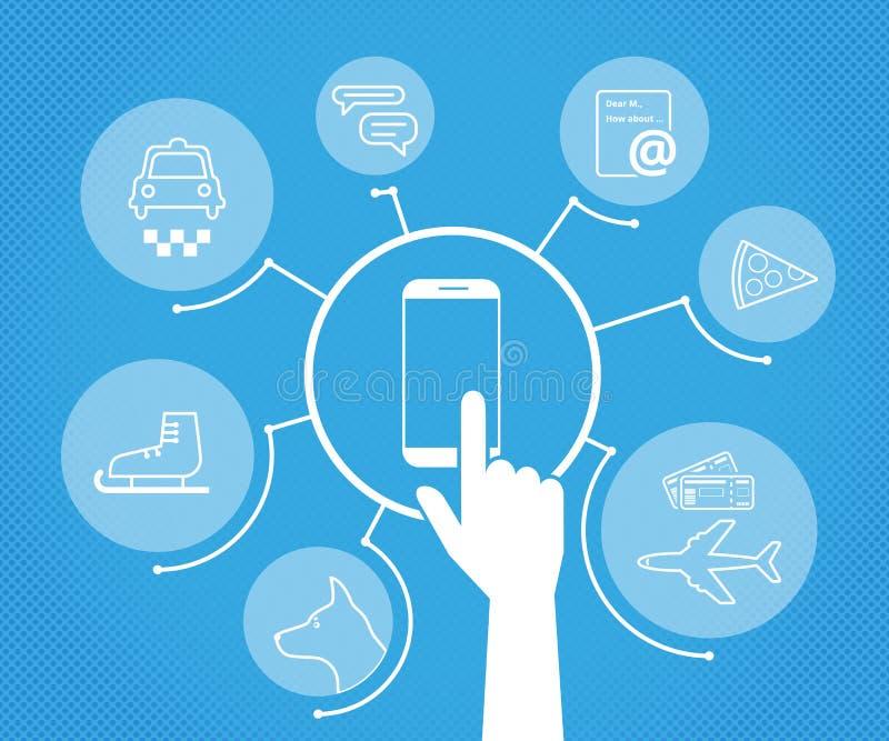 Mobiele apps stock illustratie