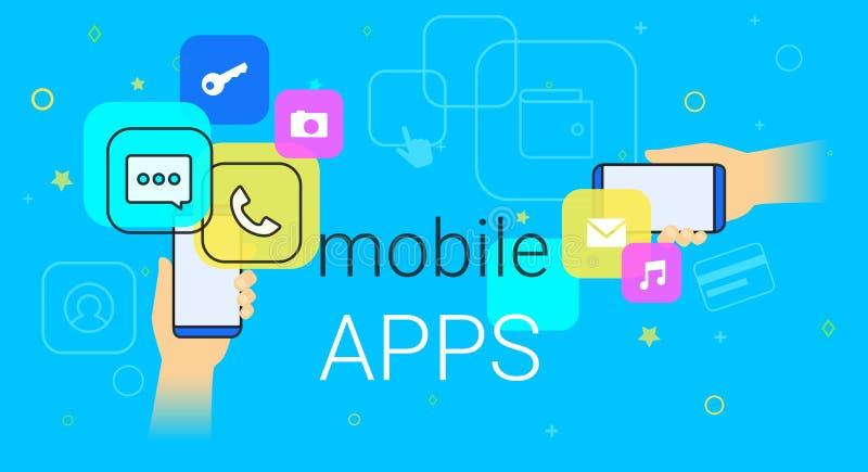 Mobiele apps op de vectorillustratie van het smartphoneconcept royalty-vrije illustratie